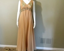 Nude Chiffon Evening Gown with Cropped Jacket Size 8