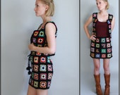 70s Granny Square Crocheted Vest Top and Mini Skirt Outfit XS