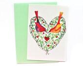 Valentines Postcard, Valentines Greeting Card, Love Postcard, Heart Postcard, Birds Postcard