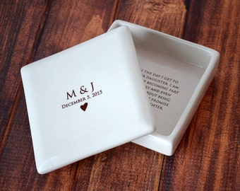 Mother of the Bride Gift From the Groom - Square Keepsake Box - Comes with a Gift Box