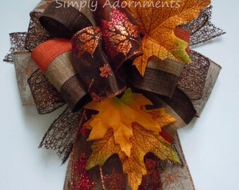 Funky Fall Bow Fall Lantern Bow Thanksgiving Wreath Bow Maple Leaves Wedding Pew Bow Brown Bronze Fall leaves Bow Autumn Door Hanger Bow
