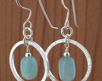 Silver Hoop Earrings with Adventurine Beads Hammered Texture  All Handmade