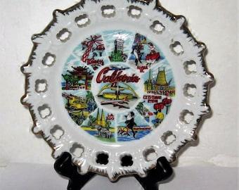 Vintage California Souvenir Plate - 1940's California Souvenir Plate - Vintage California 1940's Souvenir Plate