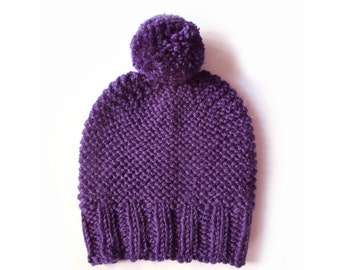 Hand knit dark purple beanie hat, womens beanie hat, chunky knit hat