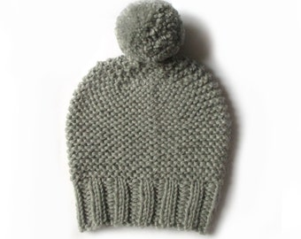 Knitted wool beanie hat, handmade wool hat, pompom beanie hat