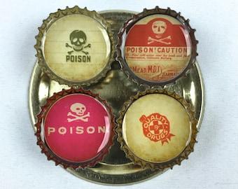 POISON Bottle Cap Magnets - Set of 8 - Skull/Crossbones