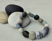Lampwork beach stones - stretch bracelet - beach pebble bracelet  - handmade