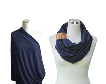 Navy Nursing cover with a leather cuff, Nursing scarf with a cuff, Breastfeeding Cover, Nursing Infinity Scarf, baby shower gift