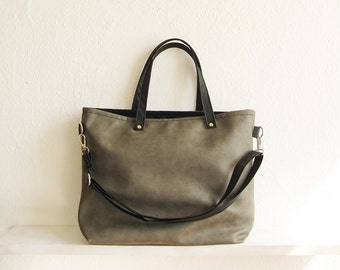 Gray Tote bag, Large tote, Crossbody bag, Casual tote bag, Handbag, Faux Leather, Tote, Slouchy style