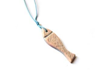 Fish necklace, ceramic pendant,  blue fish, fish art, summer accessory