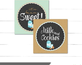 Milk and Cookies Birthday Favor Tags - Square Tags - Boy Birthday - Blue, Rustic, Vintage - Instant Download