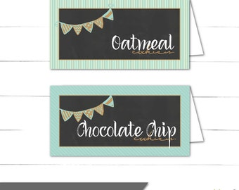 Tent Cards - Milk and Cookies Collection - Boy Birthday Decoration - Food Cards - Place Cards - Blue, Rustic, Vintage - Instant Download