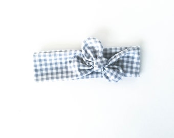 grey, plaid, buffalo plaid, fall plaid, gingham plaid, stretchy knot headband, tie up head wrap, bow headband - one size fits all
