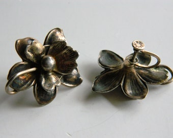 Art Nouveau Sterling Silver 3-D Floral Flower Earrings Screwback Heavy Patina