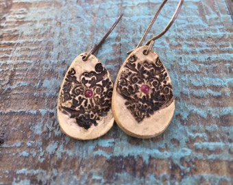 Henna bronze earrings