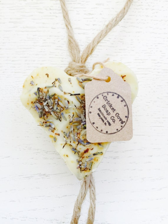 Lavender Heart Soap - Soap on a Rope - Valentine's Soap - Handmade