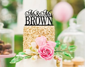 Personalized Mr and Mrs Wedding Cake Topper with YOUR Last Name - 0072