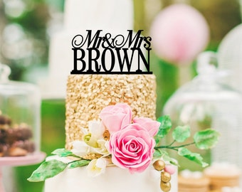 Mr and Mrs Wedding Cake Topper Custom Personalized with YOUR Last Name