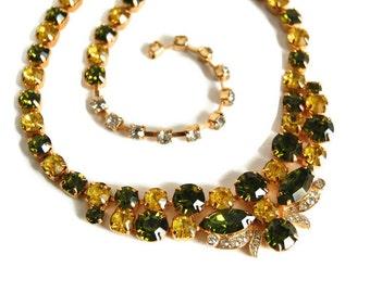 Eisenberg Ice Choker Necklace Designer Vintage Jewelry Rhinestone Bib Necklace Midcentury Hollywood Regency 1950s Statement Necklace