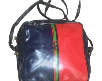 Vintage Roberta di Camerino vinyl coated canvas shoulder bag, mini purse in tricolor, red, navy, and green.