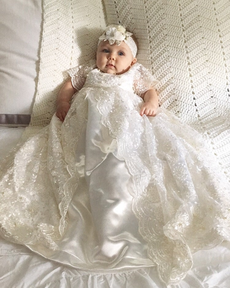 Pearl beaded f White White Lace Christening Baptism by