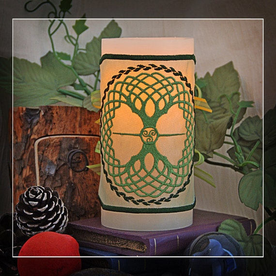 Beautiful and Unique Celtic Knot Tree of Life, Embroidered Candle Wrap For LED Flameless Pillar Candles.