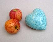 Turquoise Heart, Gift For Mom , Romantic Gift , Heart Pebble , Ceramic Sculpture