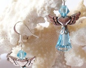 Aquamarine Swarovski Angel Earrings Heart Wings Cristmas Jewelry Blue Angels Guardian Angels Spiritual Jewelry Cyber Monday Sale