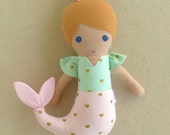 Reserved for Kait - Fabric Doll Rag Doll Small Mermaid Doll in Pink and Aqua Gold Heart Print