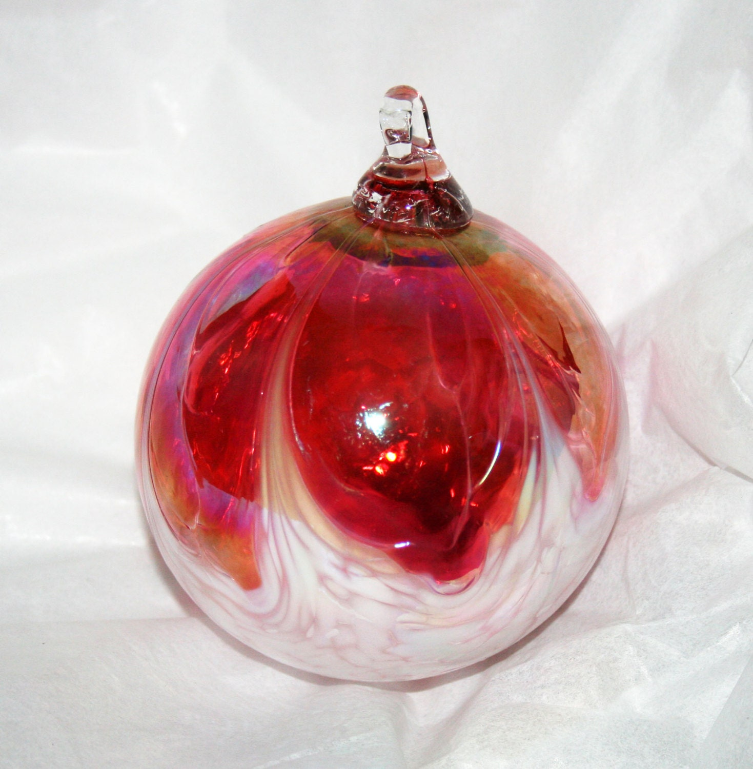 Hand blown glass christmas ornament ruby pink white