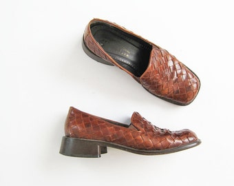 Leather Loafers / Brown Leather Loafer / Womens Loafer Shoes / Leather Flats / Block Heel Flats / Loafers 8.5