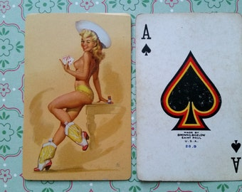 Rare Vintage Pin Up Girl Swap Card   Ace of Spades   Pin-Up Playing Card   Cowgirl