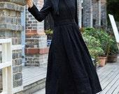 Linen Dress Gown in Black / Longsleeve winter dress, black dress, maxi dress, warm dress, long dress, tunic dress,evening dress, party dress