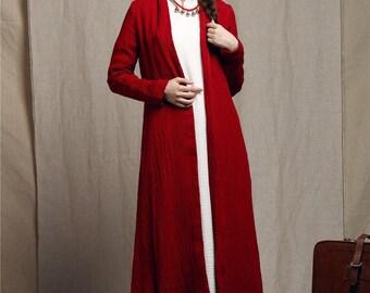 linen trenchcoat in red / maxi coat / maxi swing coat / long autumn coat dress / loose fitting coat / asymmetrical coat / maxi dress