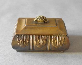 Vintage Antique brass box case Art Nouveau jewelry case organizer