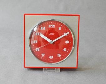 Vintage wall clock West German Diehl red lipstick red poppy kitchen red Mid-Century 60s 70s