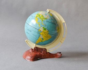 Vintage German world globe, 60s West German geography, Mid-Century modern home decor