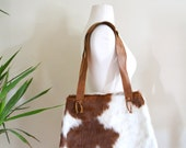 Vintage Cowhide Purse, Genuine Leather Brown and White Cowhide Shoulder Bag