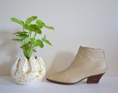 80s Cream Ankle Boots, Franco Sarto Leather Booties, US 9M, Southwestern Granny Boots