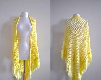 Vintage Mellow Yellow Crochet Shawl, Handmade Fringe Shrug, 70s Retro See Through Poncho, Chunky Sweatwe