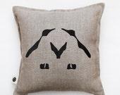 Decorative pillow for home decor idea with penguin couple print - throw pillows for interior decor - linen pillow cover - cushion cover 0322