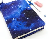 Galaxy Journal, Moleskine Cover, Quilted Refillable Journal Slipcover Fabric Diary - Star Journal Notebook in Blue, Cosmos 5 x 8 Journal
