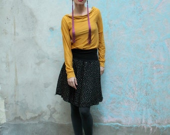 "Black cotton skirt with ""angular dots"""