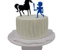 Birthday Cake Topper Set, Knight and Horse UK MADE Worldwide shipping