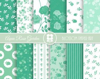 Aqua Digital Paper, Aqua Floral Digital Paper Pack, Floral Digital Scrapbooking Pack - INSTANT DOWNLOAD - 1991