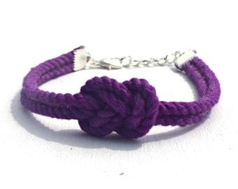 Dark Purple Infinity Nautical Rope Bracelet Figure Eight Knot Bracelet Tie the Knot Bracelet Bridesmaid Gift Wedding Favor Tying the Knot
