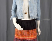 Orange skirt brown skirt Broomstick skirt pleated gypsy boho guatemala women S small M medium