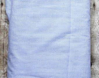 Fabric Finders Seersucker Light Blue  Mini Stripes