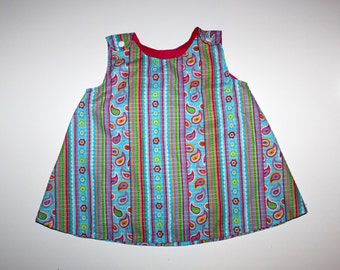 RETRO PINAFORE - Vintage Pastels and Paisley - Spring Little Girl - Short Bloomers - Homemade