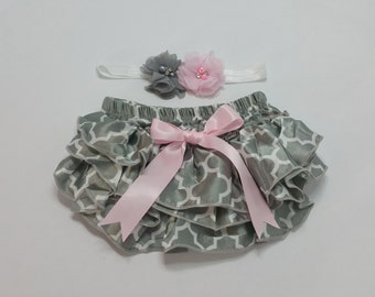 Baby Girl DIAPER COVER/HEADBAND set - Grey and Pink Ruffled Baby Bloomers, Grey and Pink Ruffle Diaper Cover, Grey and Pink Flower Headband